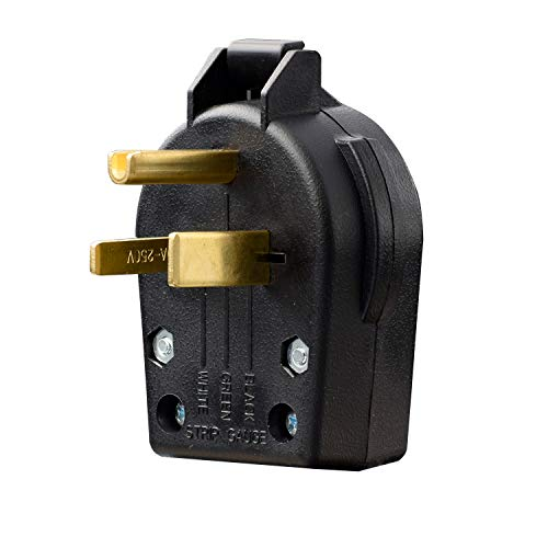AIDA NEMA 6-30P & 6-50P, 30 & 50 Amp, 250 Volt, 3-Prong Grounded Heavy Duty Angle Plug for Compressor, Ranges, Generator, Welder Replacement Plug, Industrial Grade, UL Listed, 030736