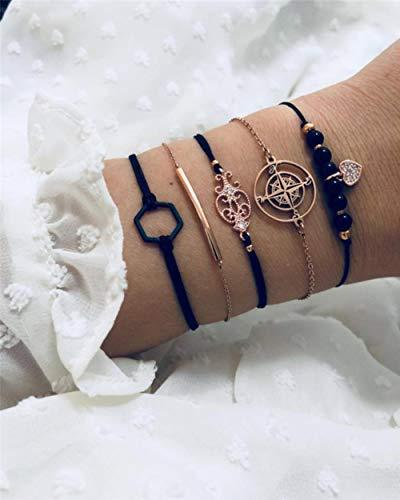 ASIG Vrouwen Armbanden Set Gem Shell Turtle Leaf Kralen Ketting Leer Multilayer Armband Bedel Lady Goud Sieraden Gift