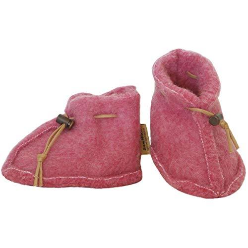 SamWo, Babyschuhe 100% natürliche Schafwolle mit Schnellverschluss BS M rosa