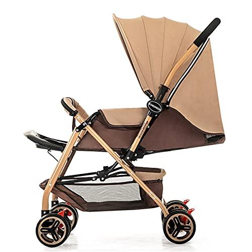 ZXJ Ligera Bebé Cochecito Plegable Buggy Posición de Mentira de Ajustable de la Capilla con la Manija Reversible Kid Cesta (Color : Brown)
