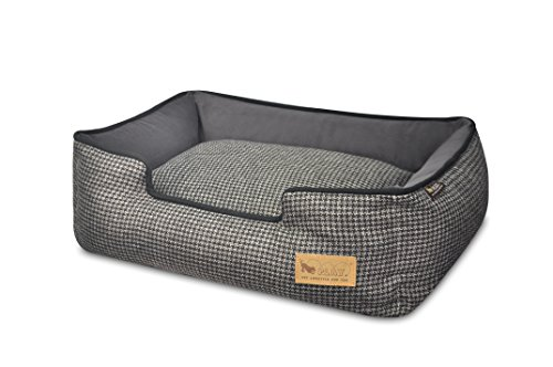 P.L.A.Y. PET LIFESTYLE AND YOU P.L.A.Y. - Houndstooth Lounge Bed - Small - Black/Grey
