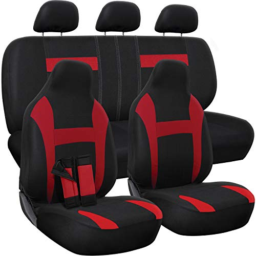 OxGord Car Seat Cover - Poly Cloth Two-Tone with Front Low Bucket and 50-50 or 60-40 Rear Split Bench - Universal Fit for Cars, Truck, SUV, Van - 10 pc Complete Set - Red/Black