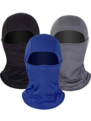 3 Pieces Summer Balaclava Sun Protection Face Mask Breathable Long Neck Cover for Men Usage (Black, Grey, Navy Blue)