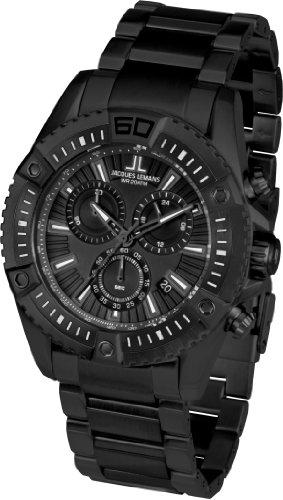 Jacques Lemans Herren Chronograph Quarz Smart Watch Armbanduhr mit Edelstahl beschichtet Armband 1-1805J