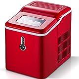 Sunmaki Macchina per il gelato, 12 kg, cubetti di ghiaccio, 24 h, in acciaio inox, serbatoio dell'acqua da 1,5 l, 120 W, produce 9 cubetti di ghiaccio, preparazione in 8 minuti (rosso)