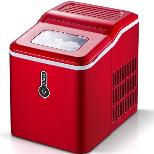 Sunmaki Eiswürfelmaschine, 12kg Eiswürfel 24h, Eiswürfelbereiter Edelstahl, 1.5L Wassertank, Eismaschine Ice Maker 120W, Produziere 9 Eiswürfel, Zubereitung in 8 min (rot)