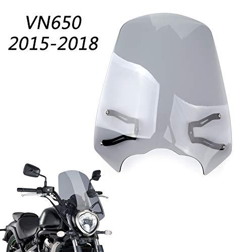 Artudatech Parabrisas delantero para motocicleta con soporte de viento para K-A-W-A-S-A-K-I Vulcan S EN 650 2015-2018
