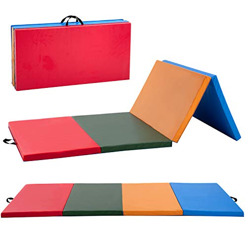 BestMassage Gymnastics Mat 4x8x2 Tumbling Mat Gym Mat for Kid Indoor Outdoor Mat Gymnastic Mat Thick PU Leather 4 Foldding Mat Gymnastic Exercise Mat for Tumbling