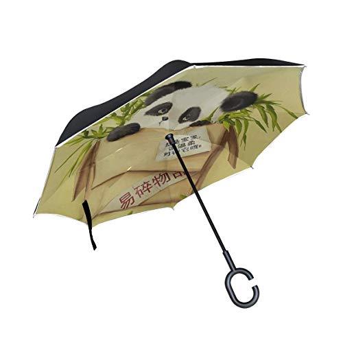 Box Panda Grass Papier Zeichnung Inverted Umbrella Große Doppelschicht Outdoor Regen Sun Car Wendeschirm