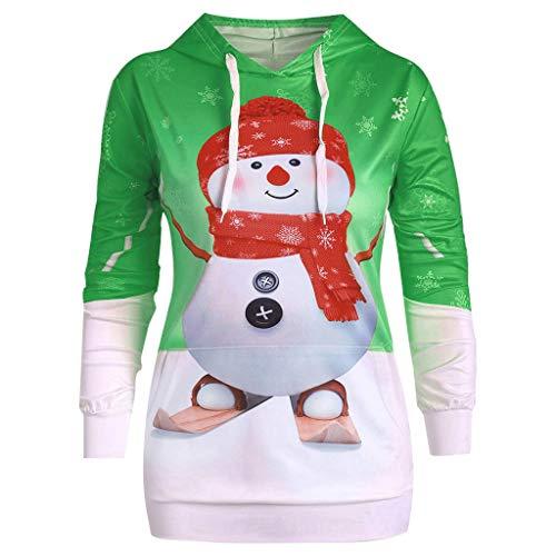 Alwayswin Frauen Schneemann Print Pullover mit Kapuze Weihnachten Kapuzenpullover Beiläufige Hoodie...