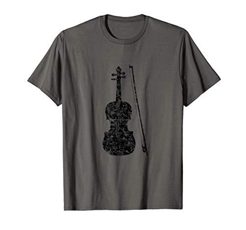 Viola und Bogen (Vintage Schwarz) Bratsche T-Shirt