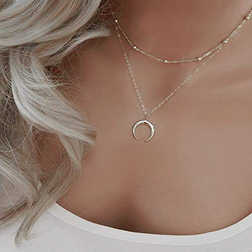 Jovono argento multistrato collana girocollo stella nappa opale pendente collana catena di gioielli per donne e bambine (SET8)
