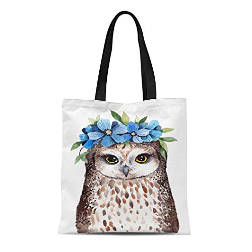 Semtomn Cotton Canvas Tote Bag Cute Watercolor Little Owl Wreath of Flowers on Head Reusable Shoulder Grocery Shopping Bags Handbag Printed
