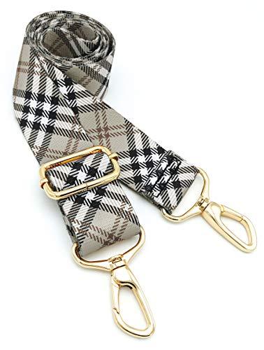 Wide Shoulder Strap Personalized Print Adjustable Replacement Belt Crossbody Canvas Bag Handbag-Scottish plaid, Yellow, Large