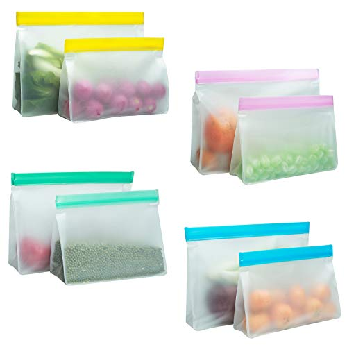 Reusable Food Storage Bags, 8 Pack Stand Up BPA-Free Leakproof Freezer Ziplock Bags, 4 Reusable Gallon Bags + 4 Reusable Sandwich Bags, Food Grade PEVA Ziplock Lunch Bags for Meat Fruit Cereal Snacks