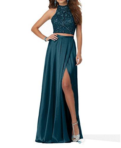 Charmant Damen Tinte Blau Steine Langes Abendkleider Promkleider Abschlussballkleider Zweiteilig 2018 Neu-38 Tinte Blau