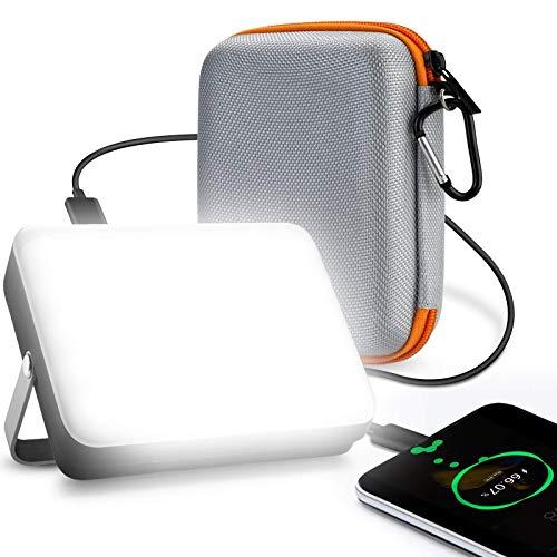 Foco LED Recargable, eventek Power Bank Portatil, Lampara Camping, Linterna Camping con 5 modos de luz, para tienda, camping, huracán, senderismo, emergencia, apagón (20000mAh)
