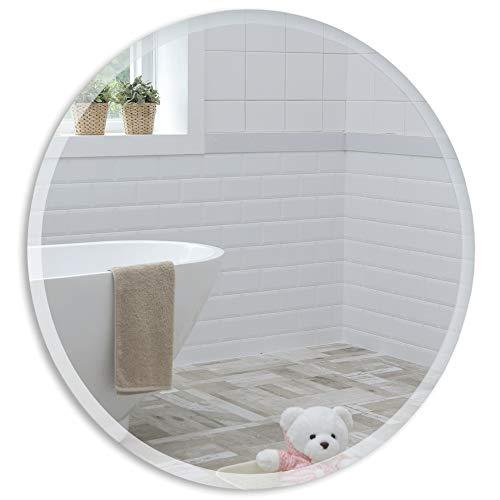 Schöner runder Badezimmerspiegel, modern und stylish, mit abgerundeten Kanten, Wandbefestigung, Badspiegel, Wandspiegel, abgeschrägte Kante, Spiegel 60cm x 60cm