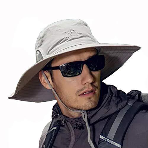 Fintier 人気な シンプルな サファリハット 日よけ帽子 UPF 50+ UVカット ハット バケットハット つば広ハット ひも付き 春夏秋 吸汗通気性抜群 登山 釣り スポーツ アウトドア ハット メンズ (ライトグレー)