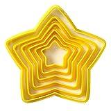 6PCS / SET Stelle a forma di stantuffo di plastica Taglierina per biscotti Tagliabiscotti Attrezzi per decorare la torta del fondente Stampo per cottura natalizia