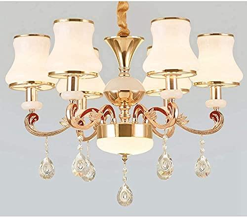 TAIDENG Chandelier de Estilo Europeo LED Dormitorio de casa Iluminación de Cristal de aleación de Zinc (Size : 6lights)