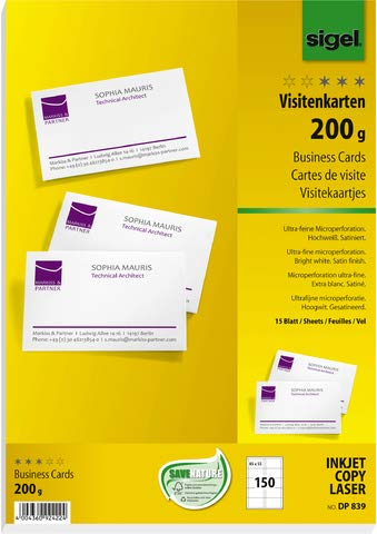 SIGEL Visitenkarten, microperforiert, satiniert200 g/qm, hochweiß, 150 Stück;...