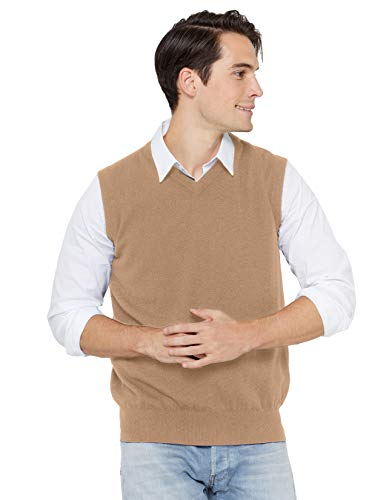 State Cashmere Men's Classic Sleeveless Sweater Vest 100% Pure Cashmere V-Neck Style Pullover (XX-Large, Camel)