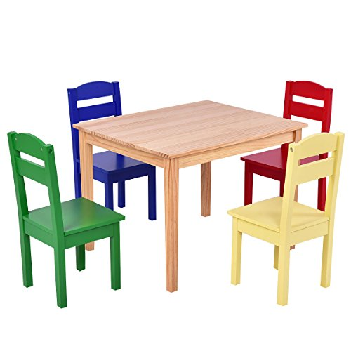 AyaMastro Set of 5 Pcs Kids Rectangle Table Chair Set Pine Wood Multicolor Children Play Room w/4 Chairs