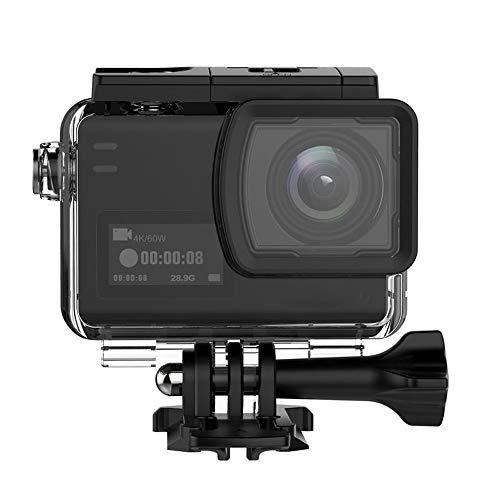 BESTSOON Actionkameras 4K 60fps Tätigkeits-Kamera Dual Screen-Sport-Kamera DV Ambarella H22 Chipsatz Big Box (Farbe : Schwarz, Größe : Einheitsgröße)