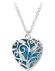 عقد مع قلادة اكوا الساحرة، ازرق، على شكل قلب وزخرفة أشجار تتوهج في الظلام