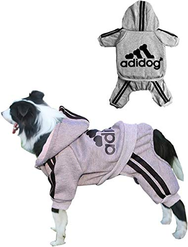 Rdc Pet Adidog Dog Hoodies, Clothes,Fleece Jumpsuit Warm Sweater,4 Legs Cotton Jacket Sweat Shirt Coat for Small Dog Medium Dog Large Dog (Grey,7XL)