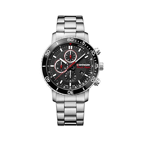 Wenger Herren Roadster Black Night Chronograph - Swiss Made Analog Quarz Edelstahluhr 01.1843.106
