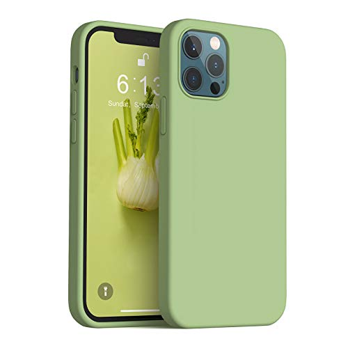 Anyos Compatible with iPhone 12 Case and iPhone 12 Pro Case 6.1 inch, Liquid Silicone Rubber Full Body Protective Phone Case with Soft Microfiber Cloth Lining for Women Men Girls Boys, Matcha