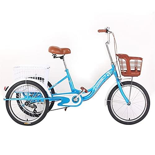 SN Triciclo para Adultos Bicicleta Trike 20 Pulgadas Velocidad Única Bicicleta 3 Ruedas para Adultos Personas Mayores Hombres Mujeres con Cesta De Gran Tamaño (Color : Blue)