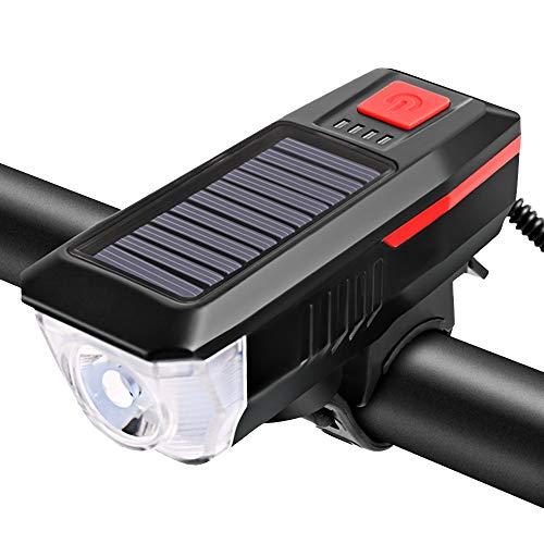 LIAWEI - Luz solar para bicicleta, recargable, USB, 200 m, luz para bicicleta, 3 modos de iluminación, 120 bocinas, fácil de instalar, luz para bicicleta de montaña apta para todas las bicicletas