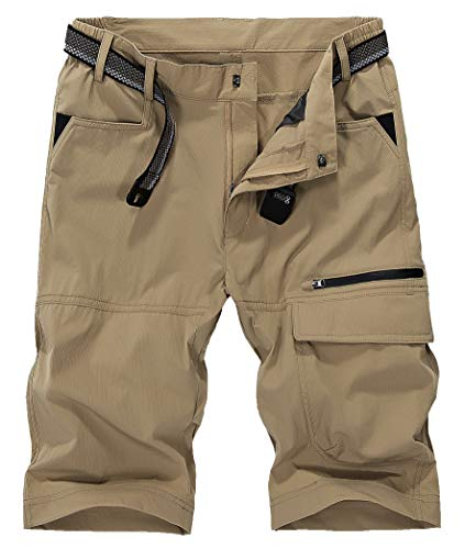 KEFITEVD męskie spodenki cargo na zewnątrz szybkoschnące oddychające wspinaczka safari szorty z wieloma kieszeniami spodnie Khaki 38