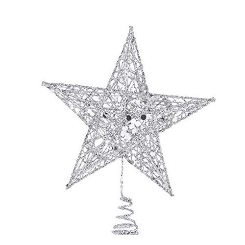 DOITOOL 1 Pieza Estrella para el arbol de Navidad Plata Adornos de árbol de Navidad Adornos Copa del árbol de...
