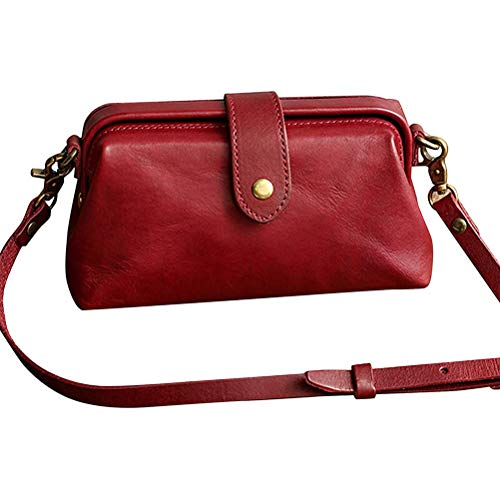 Atrumly Kleine Schulterhandtasche, Retro Handgemachte Arzttasche Crossbody Tasche Damen Vintage Stil Leder Crossbody Umhängetasche Vintage Unisex Braun