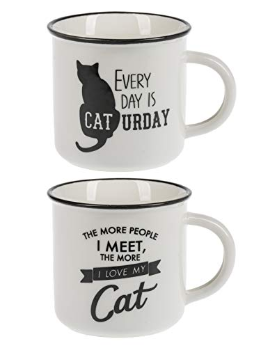 Ganz Black and White Pet Cat Mugs Set of 2 Assorted