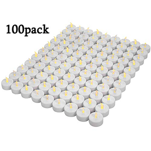 Lot de 100bougies LED Bougies CR2032 piles Bougies Unscented Bougie...
