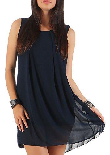 Malito Damen Kleid ärmellos   Elegantes Minikleid   Etuikleid mit Unterkleid   Etuikleid mit Rücken Cut-Out 6877 (dunkelblau)