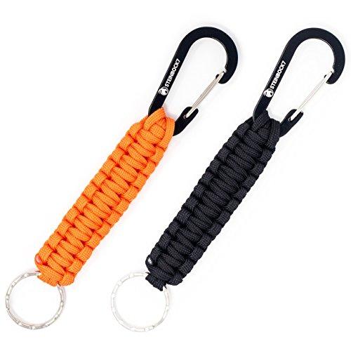 Steinbock7® Survival Paracord Schlüsselanhänger, 2er Set, Karabinerhaken + Seil, Anleitung zum Flechten, Schwarz, Orange