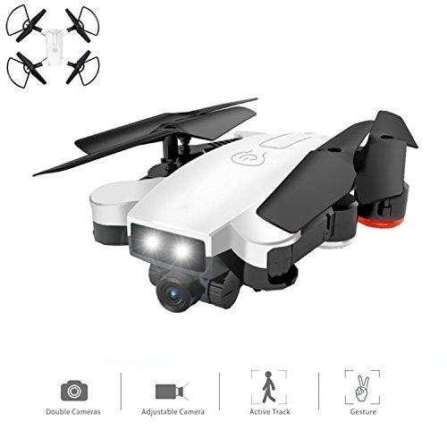 Drone Con Cámara WIFI FPV Aviones De Cuatro Ejes Con 720P HD Cámara Dual Video En Directo RTF Plegable 2.4Ghz 4 Canales De 6 Ejes Girocompás Automático De Seguimiento / Gesto RC Helicóptero Blanco