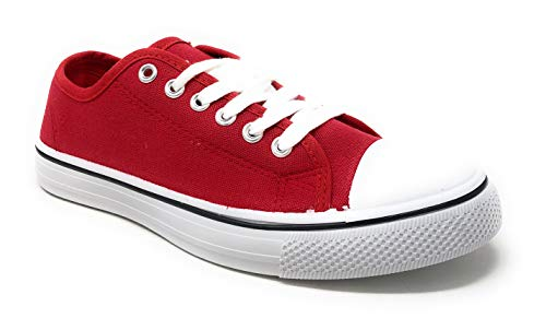 Charles Albert Women's Classic Canvas Lace-Up Low-Top Sneaker in Red Size: 7