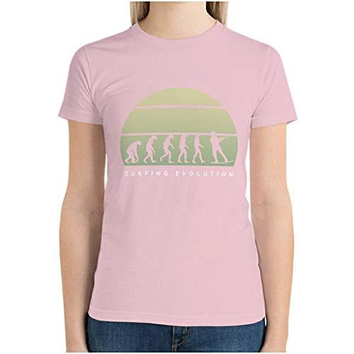 Camiseta de algodón para mujer, diseño de evolución de surf rosa XL