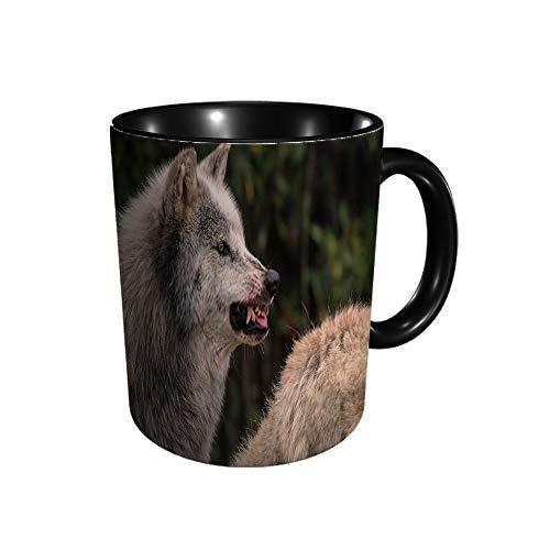 Pizeok Taza de cerámica con diseño de lobo gris con sangre en su bozal advierte el café y el té de color mágico, idea de regalo para mamá, papá, mujeres y hombres