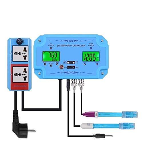 YWJT Controlador 3 en 1 de pH/ORP/Temp en línea Detector de Calidad del Agua Sonda de Tipo BNC Probador de Calidad del Agua para Monitor de Acuario EU_Plug_220V