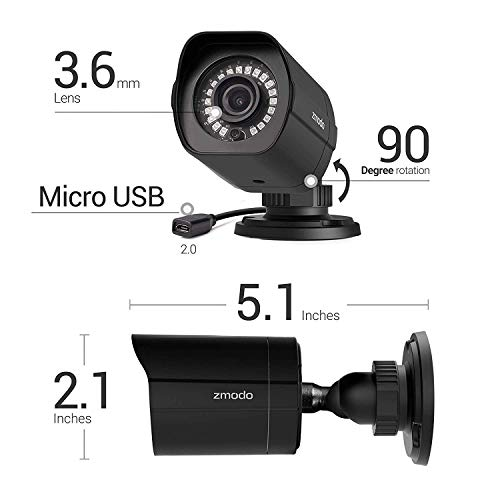 Zmodo Full HD 1080p Simplified PoE Security Camera System w/Repeater, 4 x 2.0 Megapixel IP Outdoor Surveillance Camera, 8CH HDMI NVR and 1TB Hard Drive