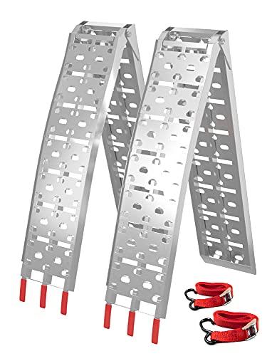 Aluminum Ramps 2 Pcs 7.5' Folding Loading Ramps, 1500 Lbs Capacity For Heavy Duty ATV UTV Motorcycles, Dirt Bike, Lawn Mowers, Snowblower, Aluminum Ramp with Load Straps