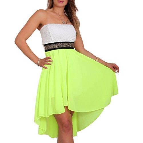 Fashion Sexy Chiffon Bandeau Kleid Vokuhila Strass Spitze Cocktailkleid Partykleid (Neon-Gelb)